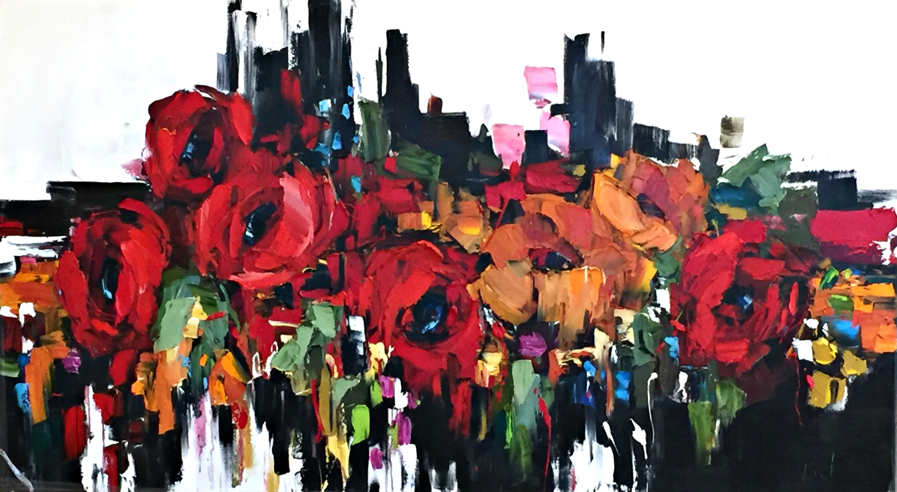 Let it Shine, oil floral painting by Kimberly Kiel | Effusion Art Gallery + Cast Glass Studio, Invermere BC