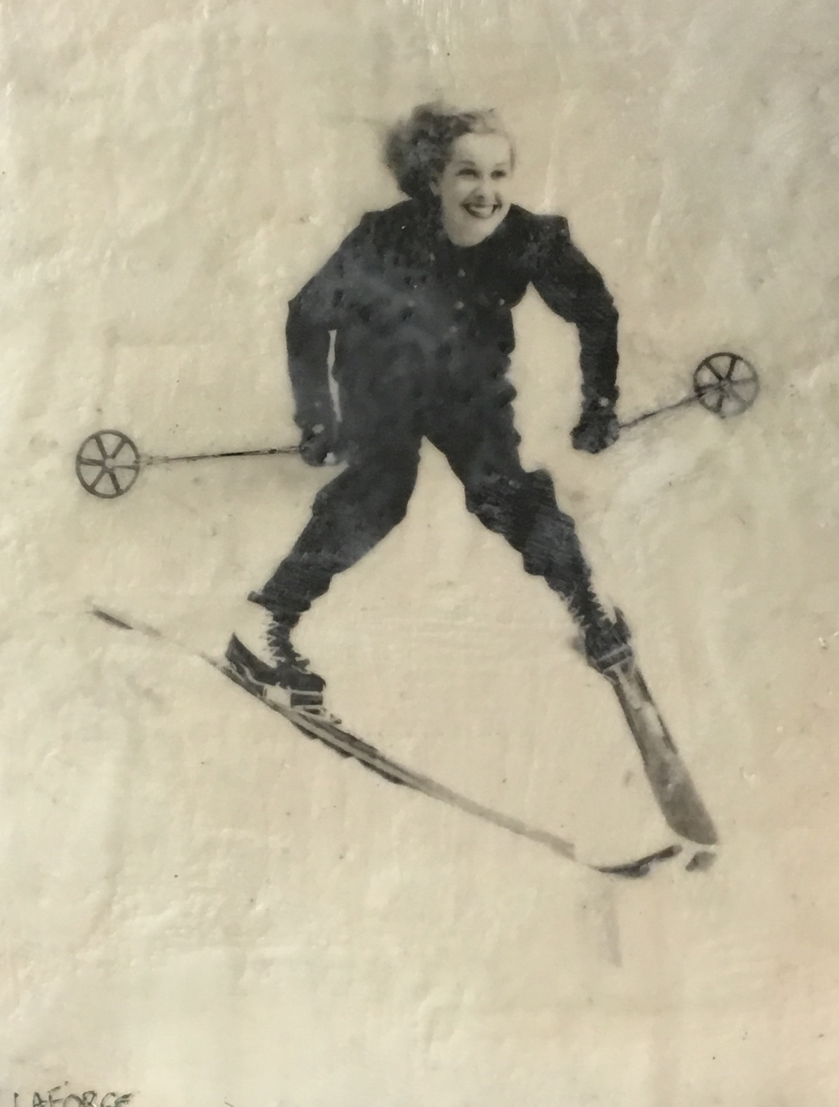 Vintage Skier 2, Encaustic painting by Lee Anne LaForge | Effusion Art Gallery + Cast Glass Studio, Invermere BC