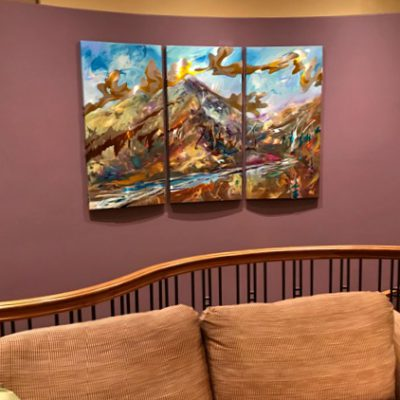Alpine Passage, mixed media painting by Joel Masewich | Effusion Art Gallery + Cast Glass Studio, Invermere BC