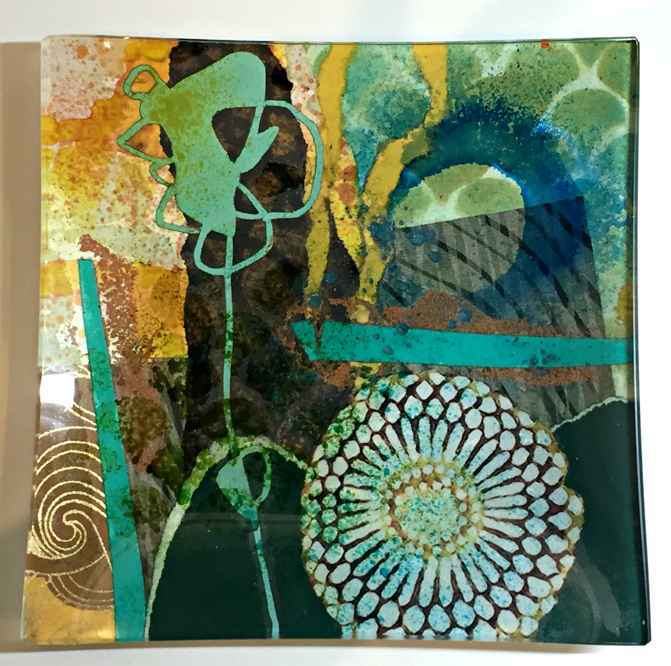 Silhouettes and Reflections, glass side plate by Julie Bell | Effusion Art Gallery + Cast Glass Studio, Invermere BC