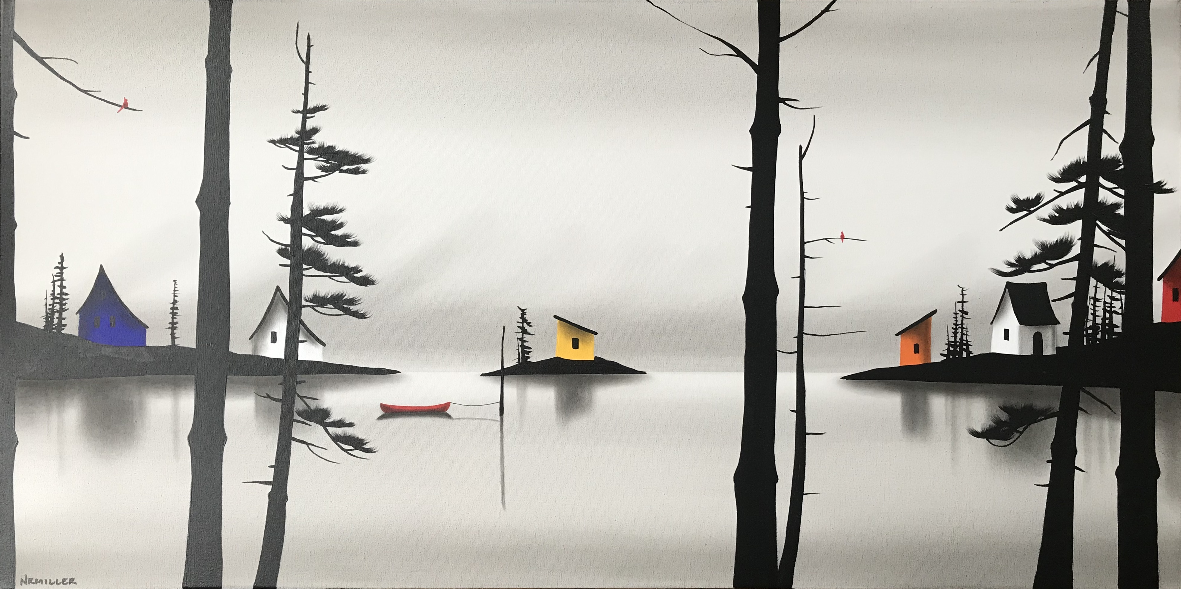 To Get Away, mixed media landscape painting by Natasha Miller   Effusion Art Gallery + Cast Glass Studio, Invermere BC