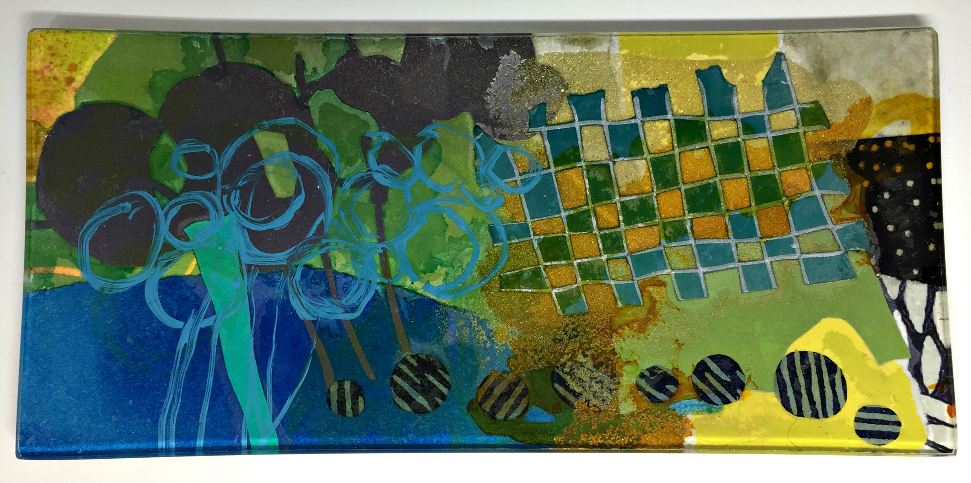 View Over Fields, glass mini platter by Julie Bell | Effusion Art Gallery + Cast Glass Studio, Invermere BC
