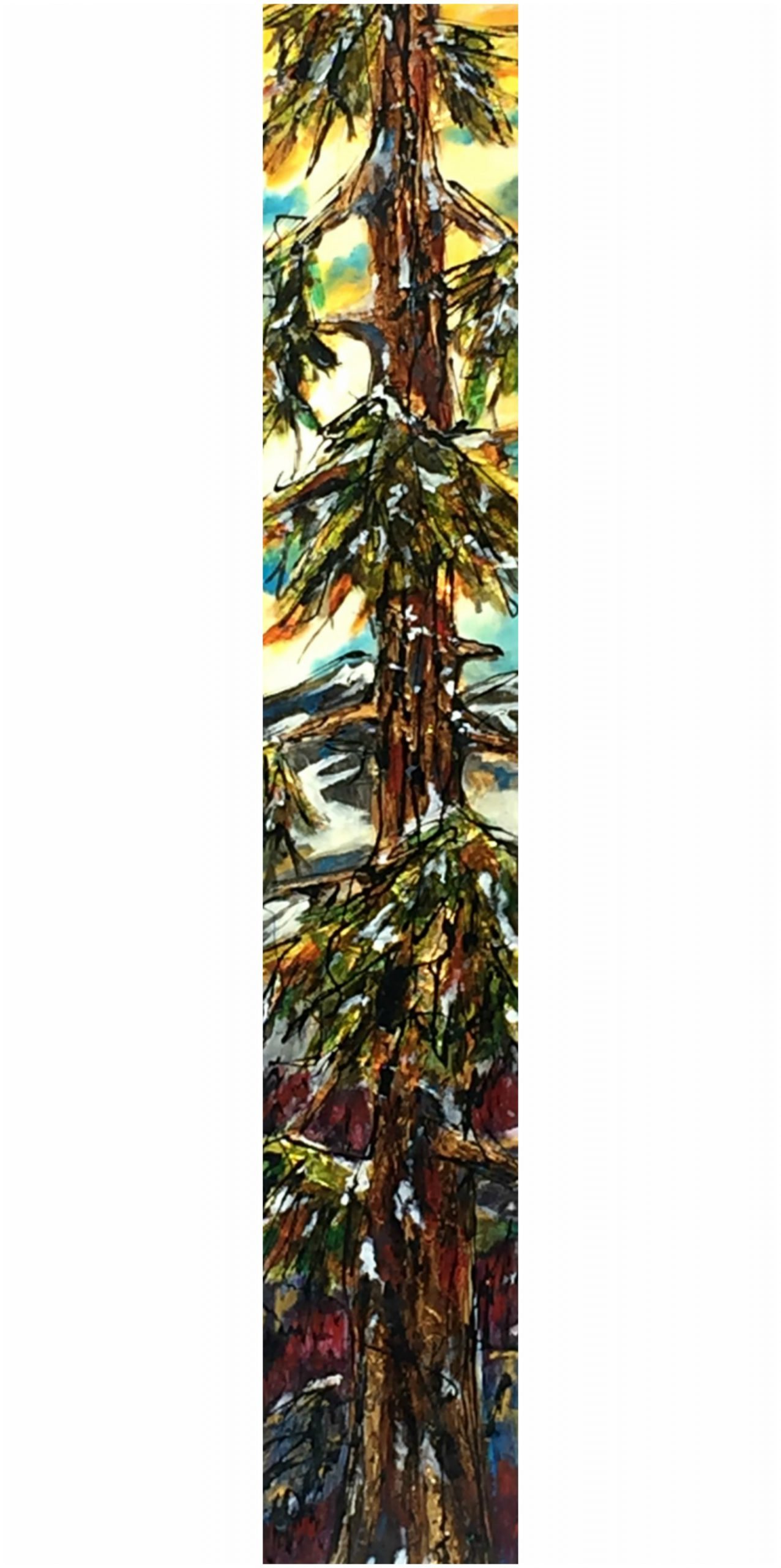 We Didn't Talk, mixed media tree painting by David Zimmerman   Effusion Art Gallery + Cast Glass Studio, Invermere BC