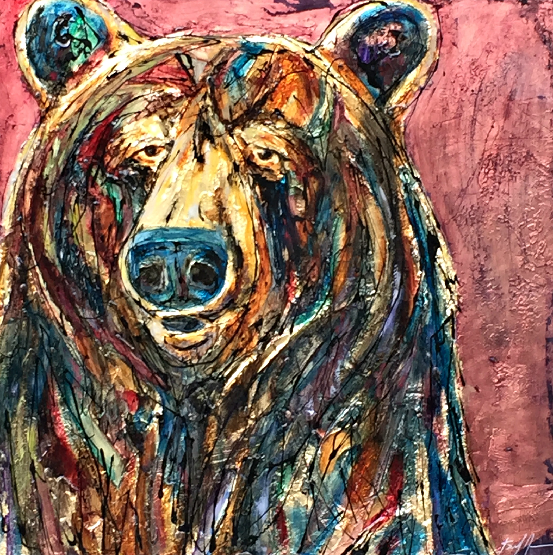 Some Vocabulary, mixed media bear painting by David Zimmerman | Effusion Art Gallery + Cast Glass Studio, Invermere BC