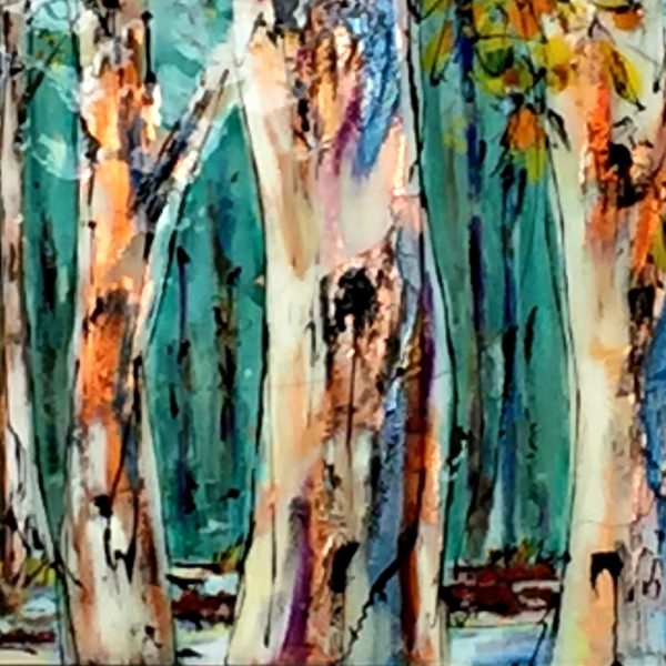 Stay Quiet, mixed media treescape painting by David Zimmerman | Effusion Art Gallery + Cast Glass Studio, Invermere BC