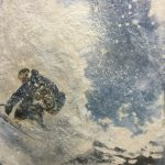 Back Country, encaustic ski painting by Lee Anne LaForge   Effusion Art Gallery + Cast Glass Studio, Invermere BC