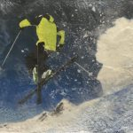 Deep Powder 2, encaustic ski painting by Lee Anne LaForge   Effusion Art Gallery + Cast Glass Studio, Invermere BC