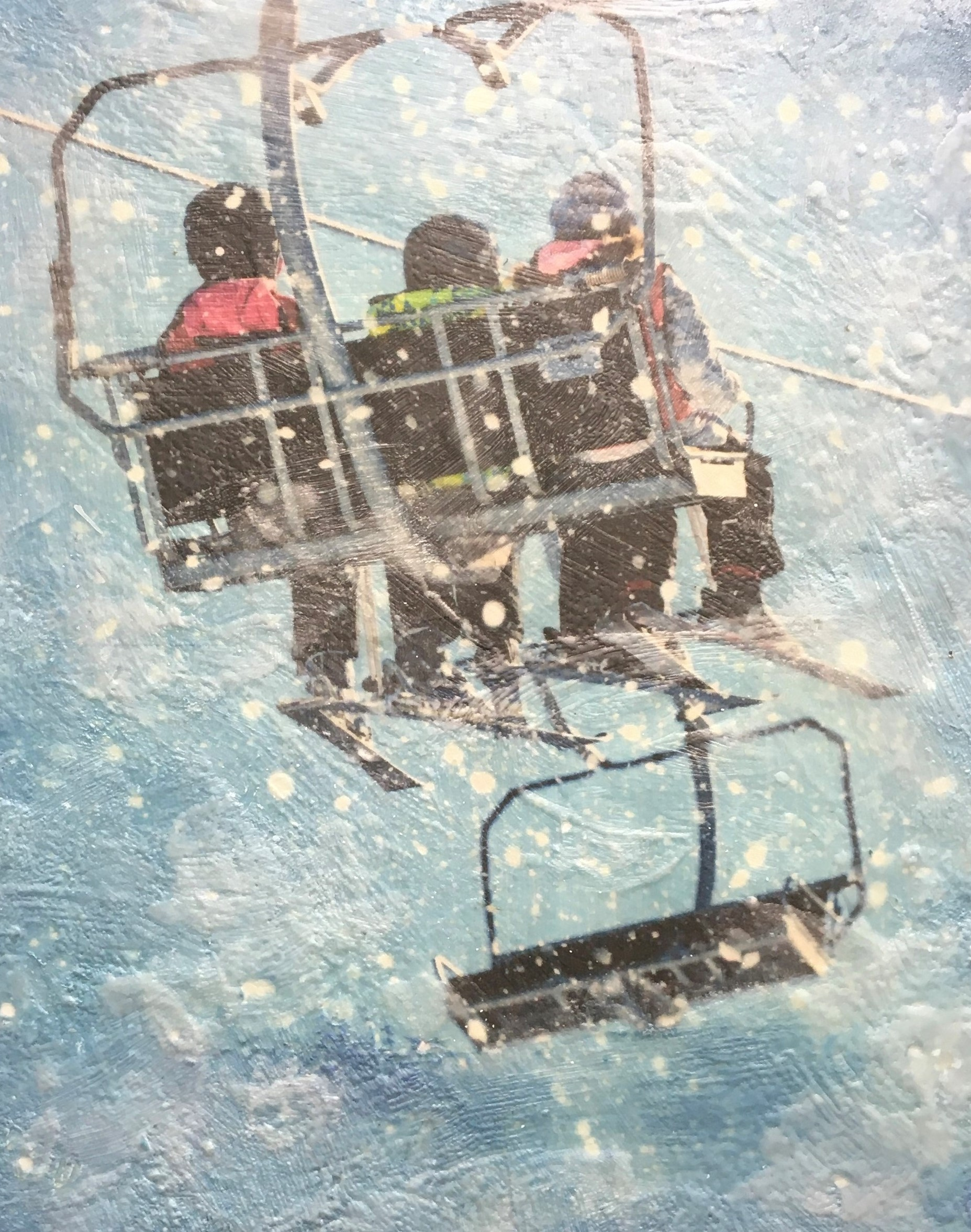 On the Lift, encaustic ski painting by Lee Anne LaForge | Effusion Art Gallery + Cast Glass Studio, Invermere BC