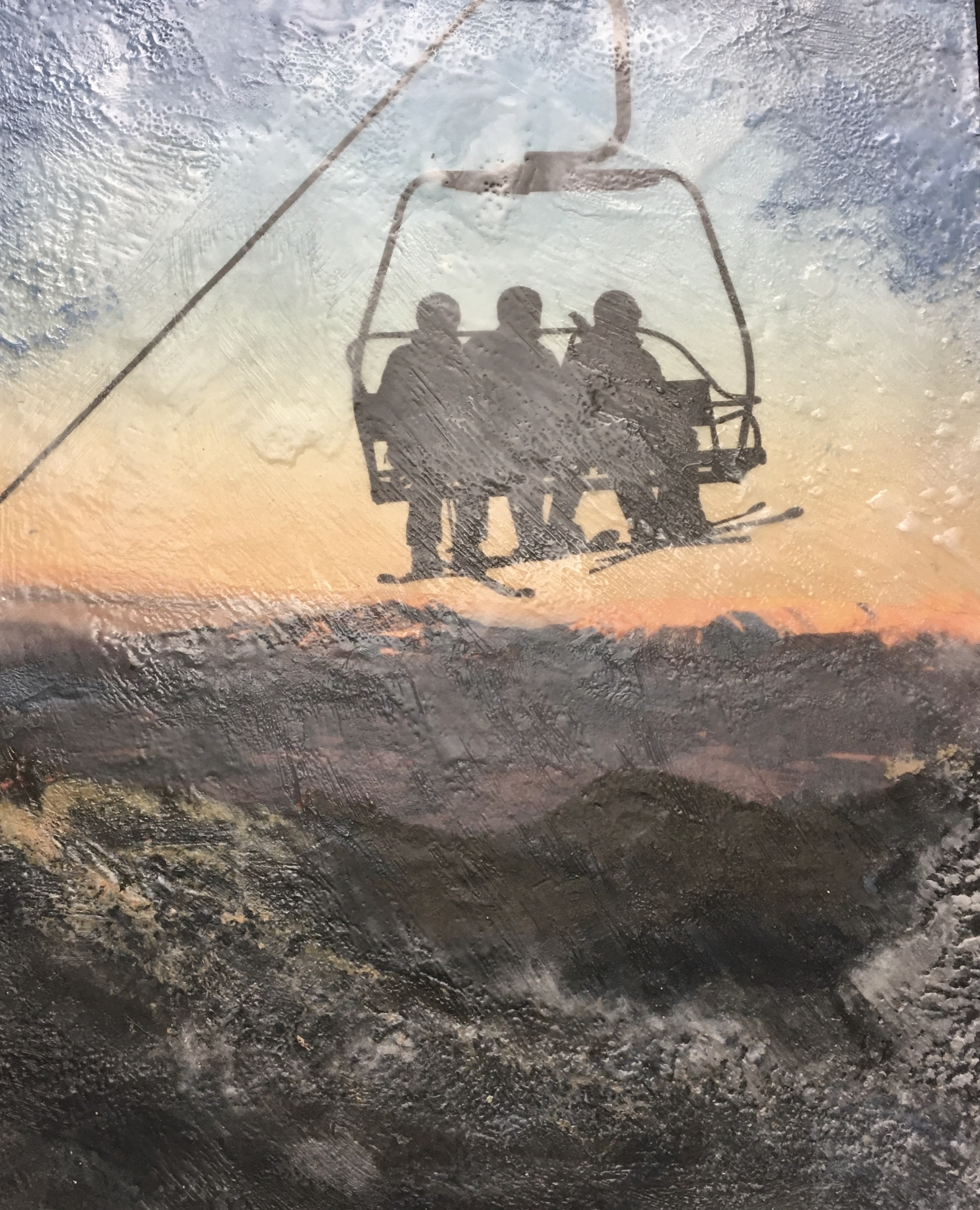 Panoramic, encaustic ski painting by Lee Anne LaForge | Effusion Art Gallery + Cast Glass Studio, Invermere BC