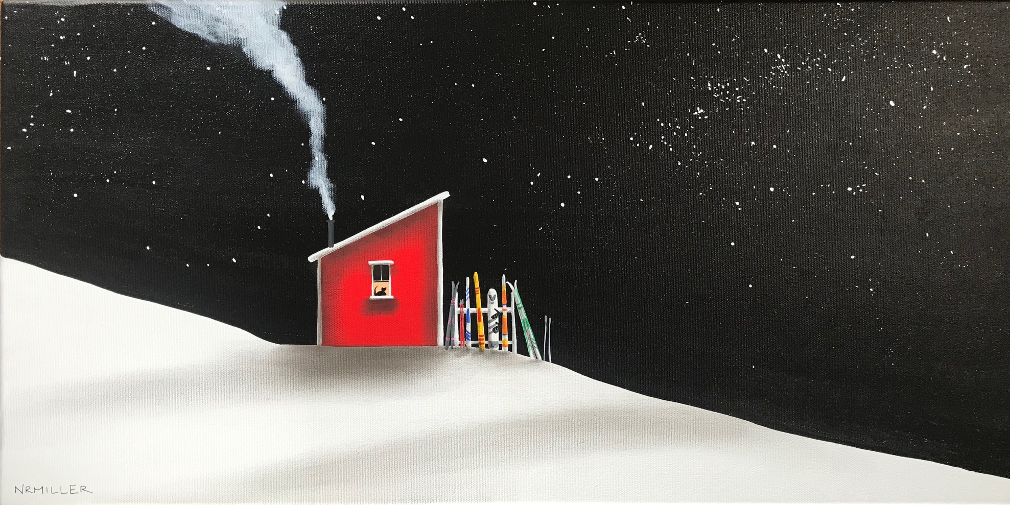 Chalet all Day, mixed media ski painting by Natasha Miller   Effusion Art Gallery + Cast Glass Studio, Invermere BC