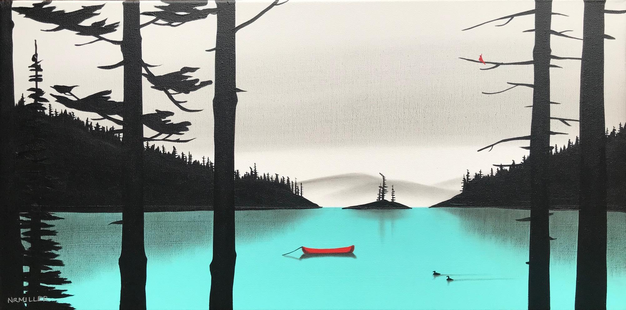 Linger at the Lake, mixed media Lake Louise painting by Natasha Miller | Effusion Art Gallery + Cast Glass Studio, Invermere BC