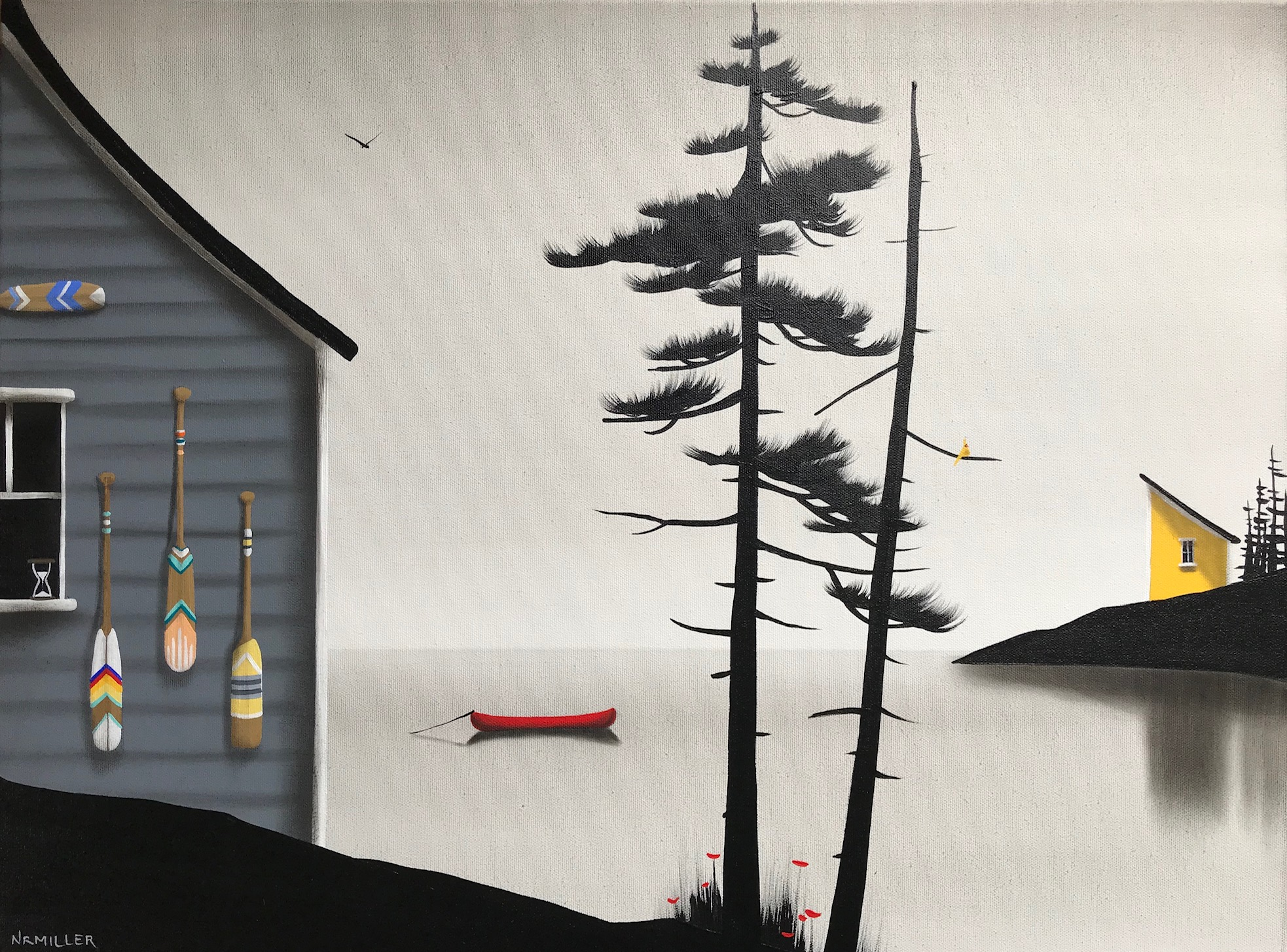 Precious Time, mixed media coastal landscape painting by Natasha Miller | Effusion Art Gallery + Cast Glass Studio, Invermere BC
