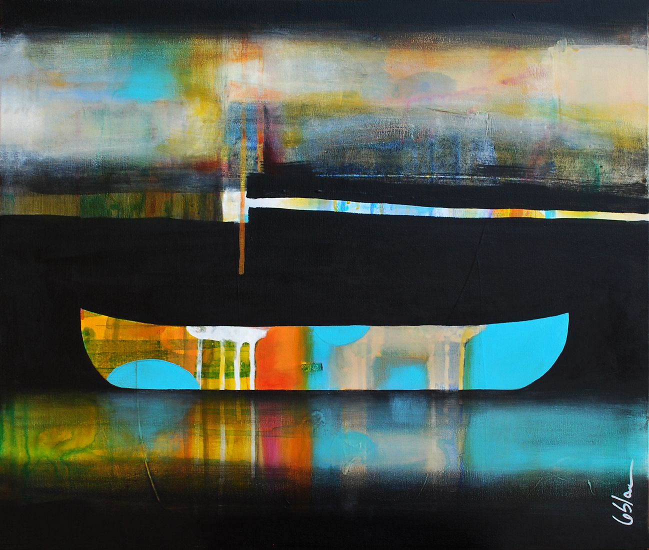 C'est certain il y a quelque chose, mixed media canoe painting by Sylvain Leblanc   Effusion Art Gallery + Cast Glass Studio, Invermere BC
