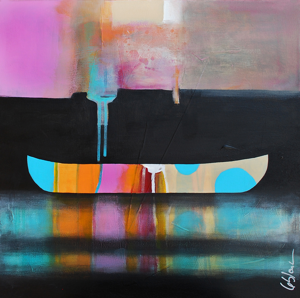 L'équilibre des poids, mixed media canoe painting by Sylvain Leblanc | Effusion Art Gallery + Cast Glass Studio, Invermere BC