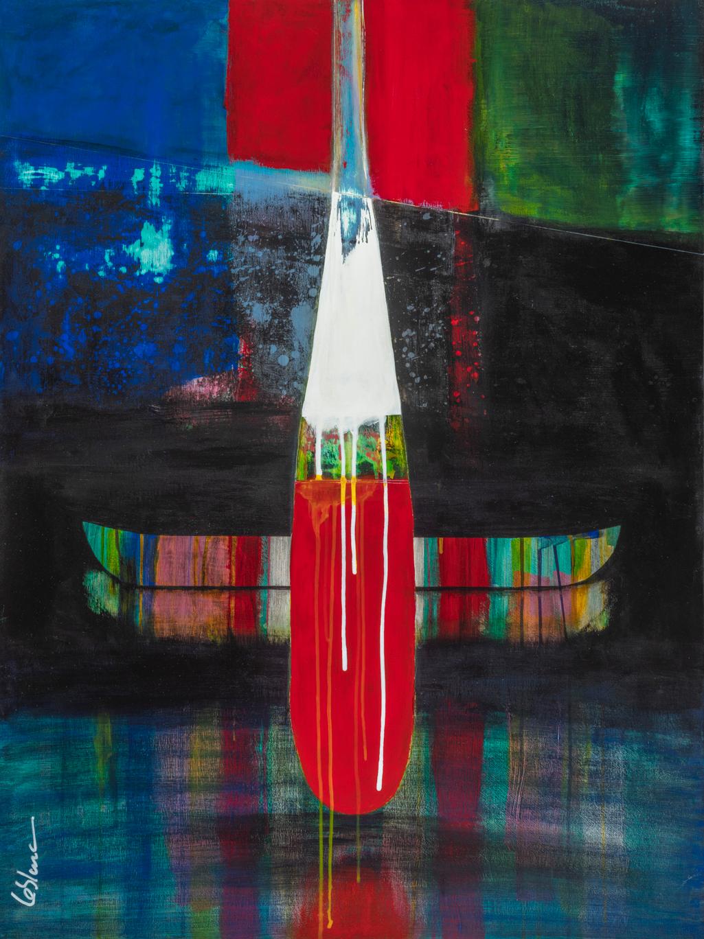 Le silence de la pénombre, mixed media canoe painting by Sylvain Leblanc | Effusion Art Gallery + Cast Glass Studio, Invermere BC