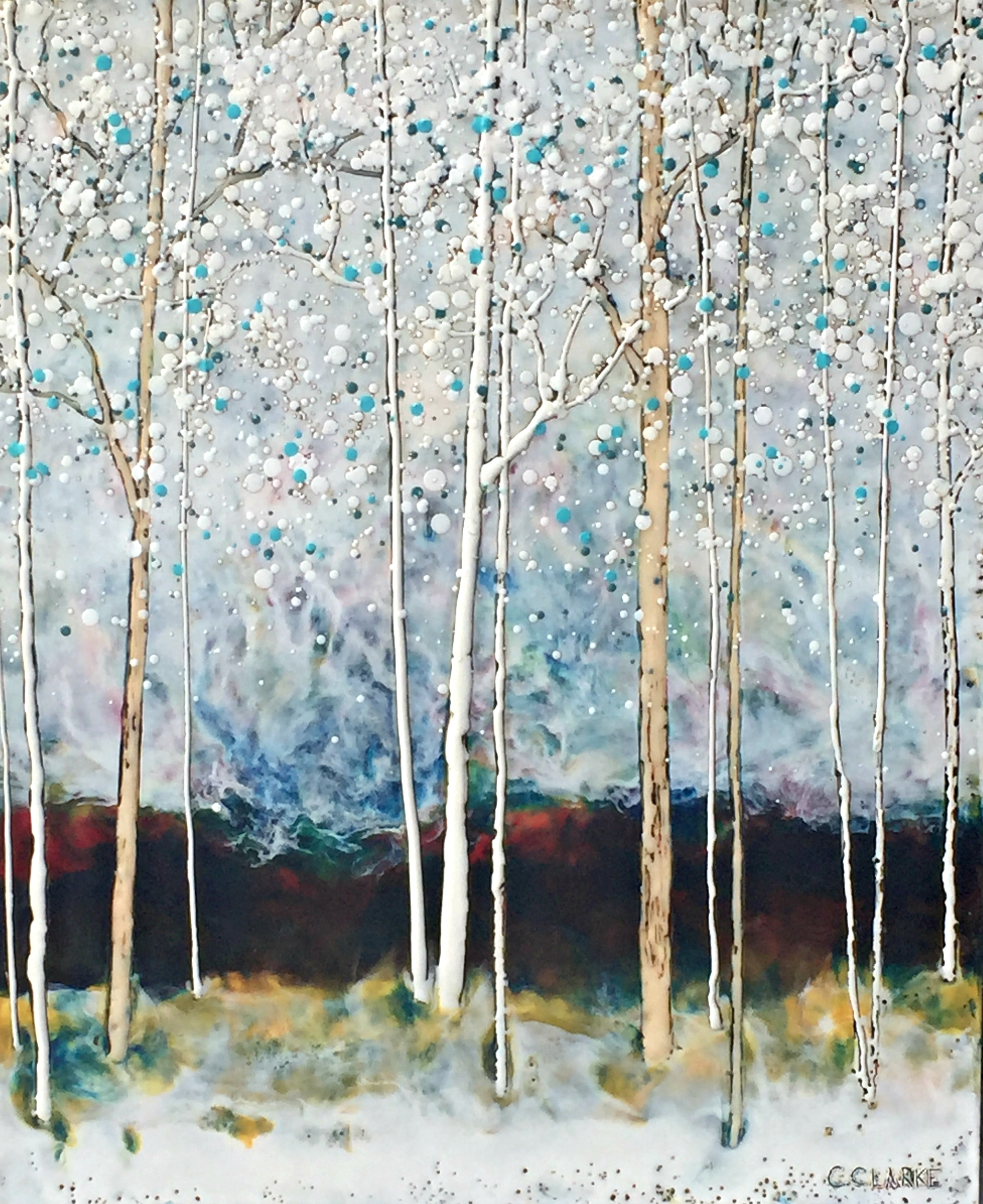 In My Sights, encaustic tree painting by Catharine Clarke | Effusion Art Gallery + Cast Glass Studio, Invermere BC