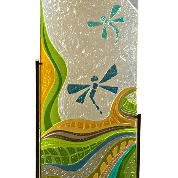 Moving to the Light, cast glass panel with dragonflies by Heather Cuell | Effusion Art Gallery + Cast Glass Studio, Invermere BC