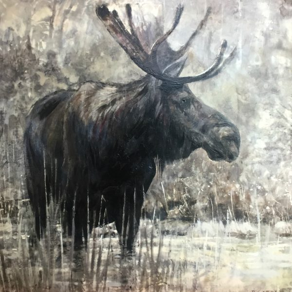 Moose, limited edition encaustic print by Paul Garbett   Effusion Art Gallery + Cast Glass Studio, Invermere BC