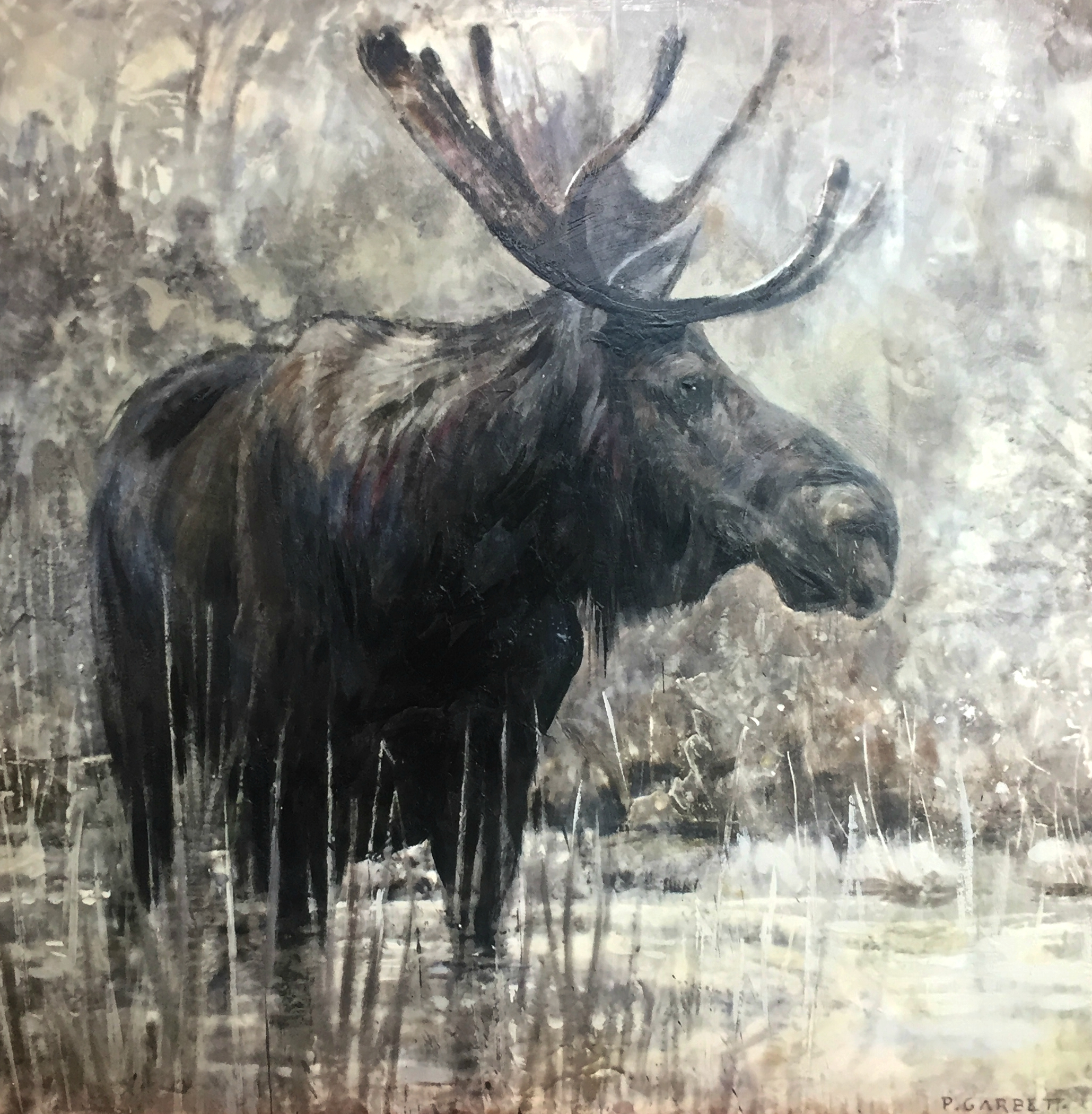 Moose, limited edition encaustic print by Paul Garbett | Effusion Art Gallery + Cast Glass Studio, Invermere BC