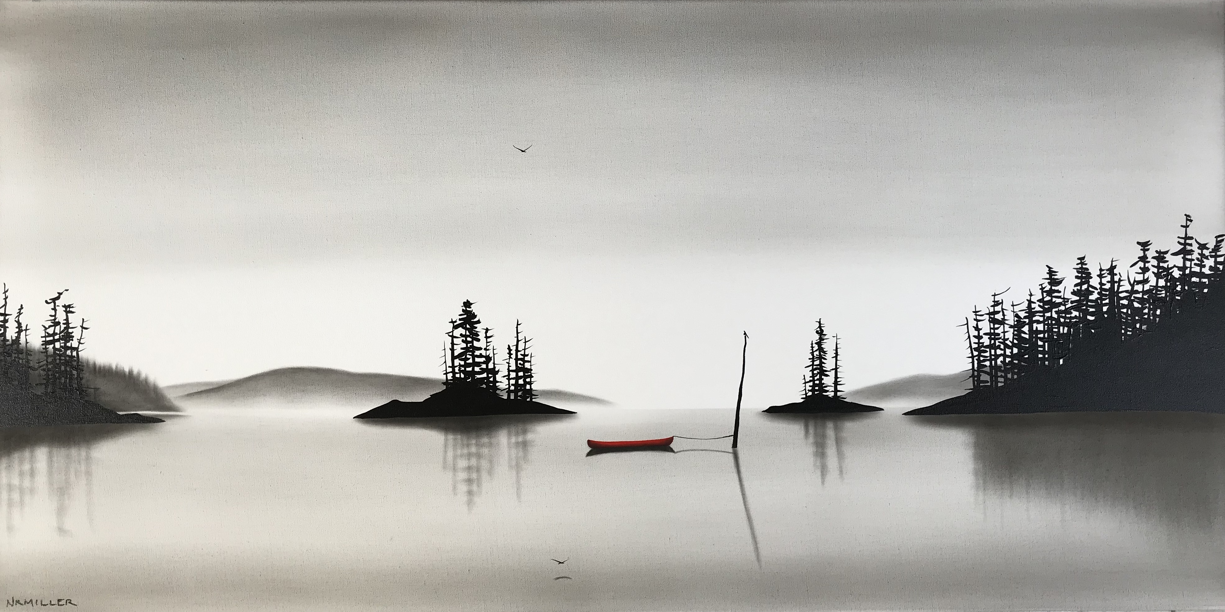 Echoes of You, mixed media landscape painting by Natasha Miller | Effusion Art Gallery + Cast Glass Studio, Invermere BC