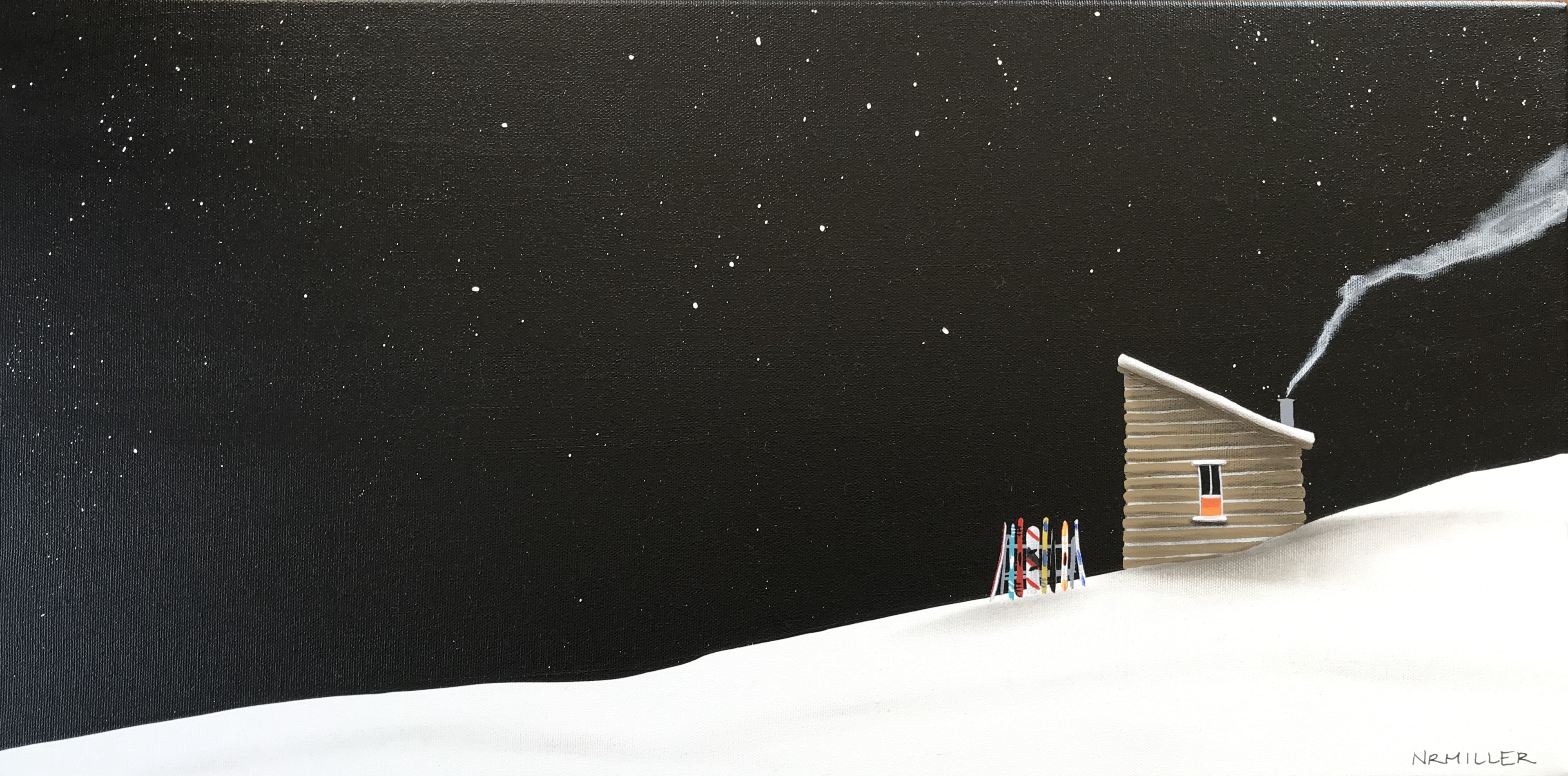 That's All She Wrote, mixed media ski chalet painting by Natasha Miller | Effusion Art Gallery + Cast Glass Studio, Invermere BC