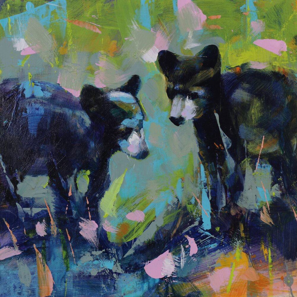 Bear Cubs 1, original bear painting by Verne Busby | Effusion Art Gallery + Cast Glass Studio, Invermere BC