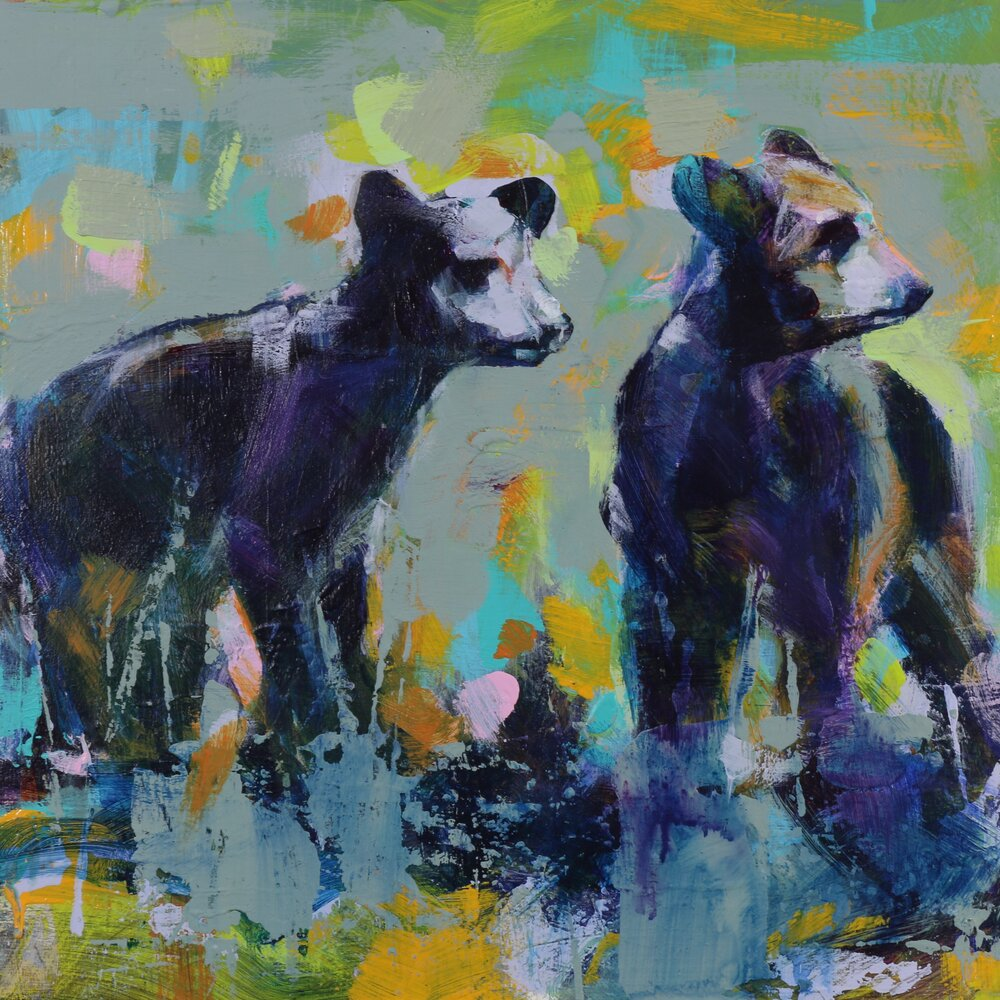 Bear Cubs 3, original bear painting by Verne Busby | Effusion Art Gallery + Cast Glass Studio, Invermere BC