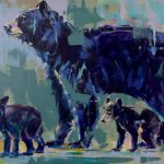 Black Bear and Cubs, original bear painting by Verne Busby   Effusion Art Gallery + Cast Glass Studio, Invermere BC