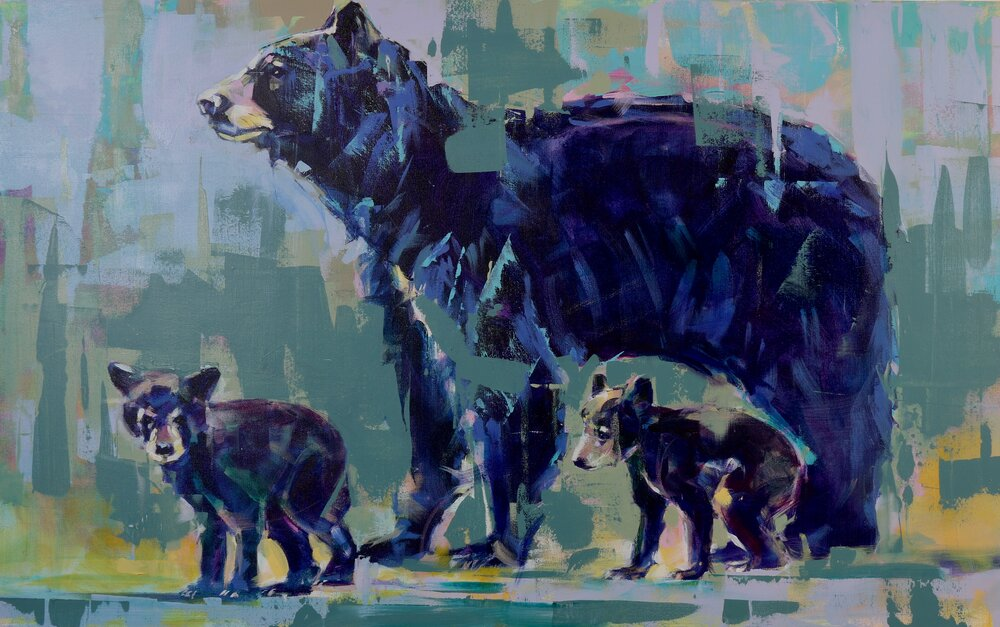 Black Bear and Cubs, original bear painting by Verne Busby | Effusion Art Gallery + Cast Glass Studio, Invermere BC