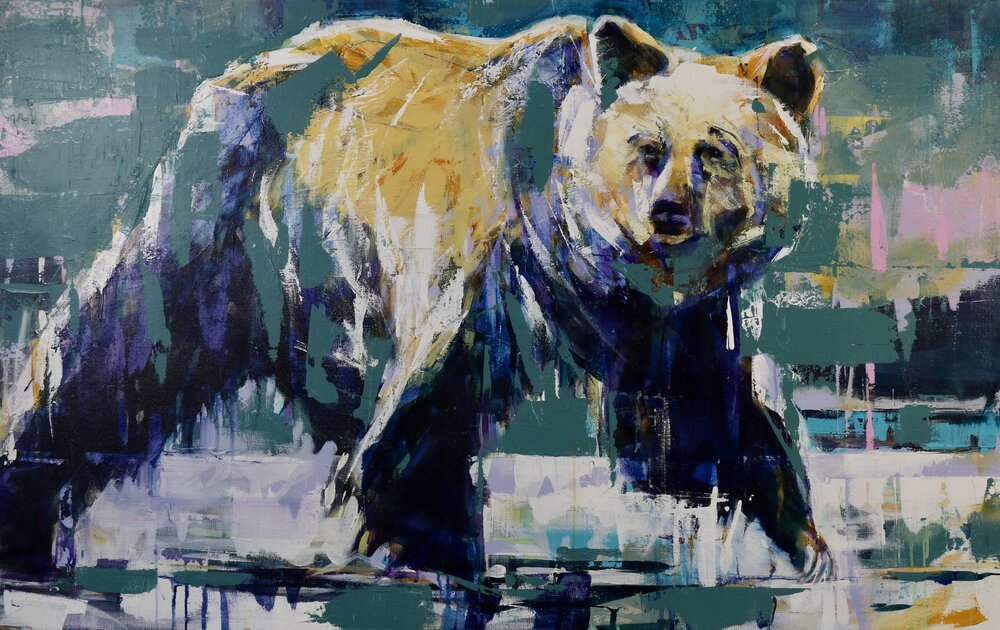 Grizzly Bear, original bear painting by Verne Busby | Effusion Art Gallery + Cast Glass Studio, Invermere BC