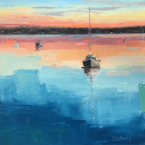 Stillness at Sunset, original sunset on the water painting by Bethany Harper Williams | Effusion Art Gallery + Cast Glass Studio, Invermere BC
