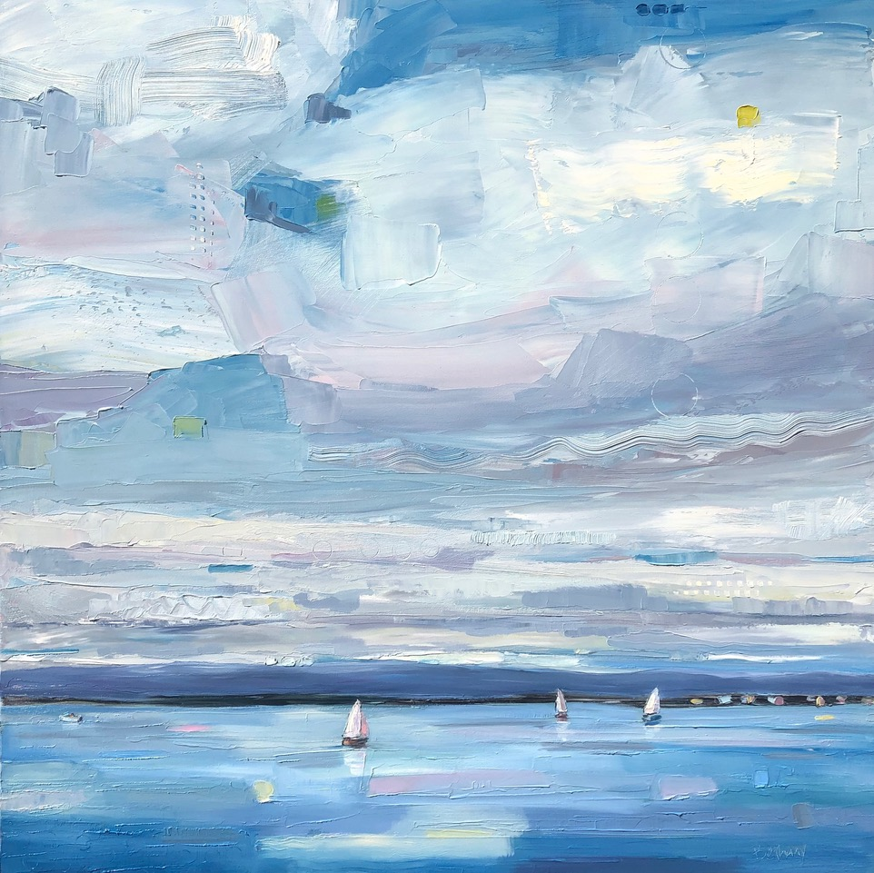 Lost in the Clouds, original sailboat and seascape painting by Bethany Harper Williams | Effusion Art Gallery + Cast Glass Studio, Invermere BC