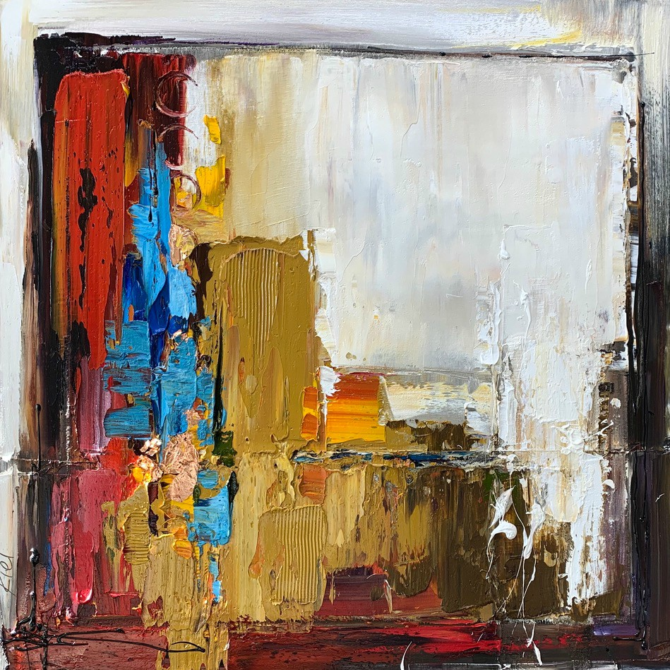 Let Me Think About It 2, abstract oil painting by Kimberly Kiel | Effusion Art Gallery + Cast Glass Studio, Invermere BC