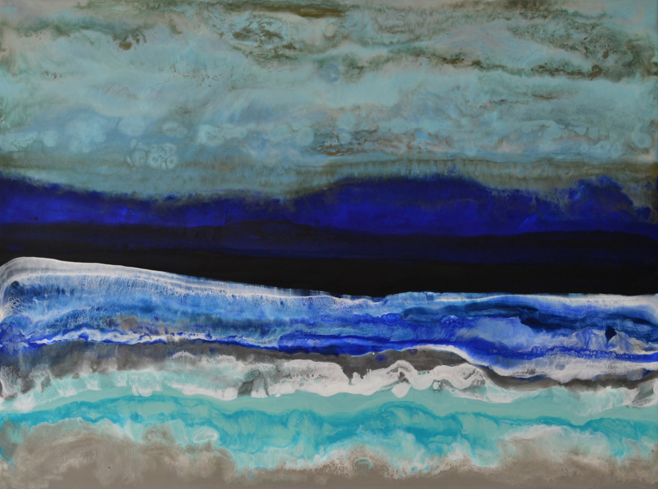 Acadia National Park, abstract encaustic painting by Marie Danielle Leblanc | Effusion Art Gallery +  Cast Glass Studio, Invermere BC