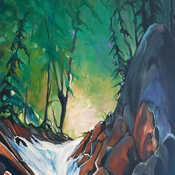Plush Rush, acrylic landscape by Heather Pant   Effusion Art Gallery + Cast Glass Studio, Invermere BC