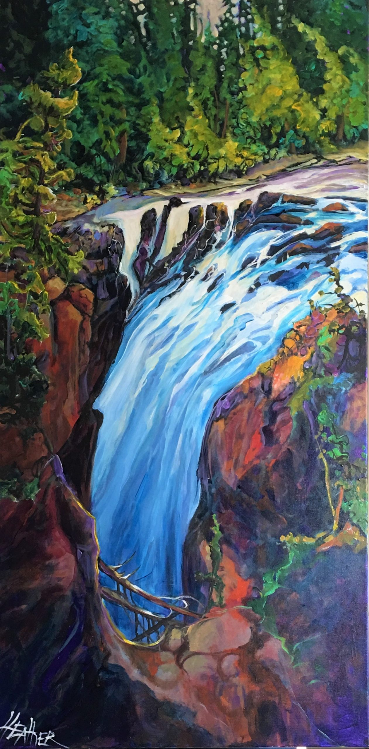 Top of the Falls, acrylic landscape by Heather Pant | Effusion Art Gallery + Cast Glass Studio, Invermere BC