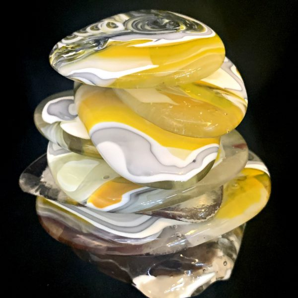 Cast Glass Rocky Mountain Cairn 11 sculpture by Heather Cuell   Effusion Art Gallery + Cast Glass Studio, Invermere BC