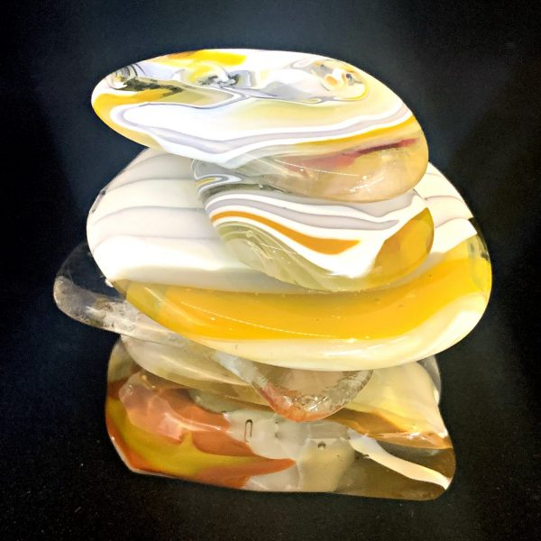Cast Glass Rocky Mountain Cairn 8 sculpture by Heather Cuell   Effusion Art Gallery + Cast Glass Studio, Invermere BC