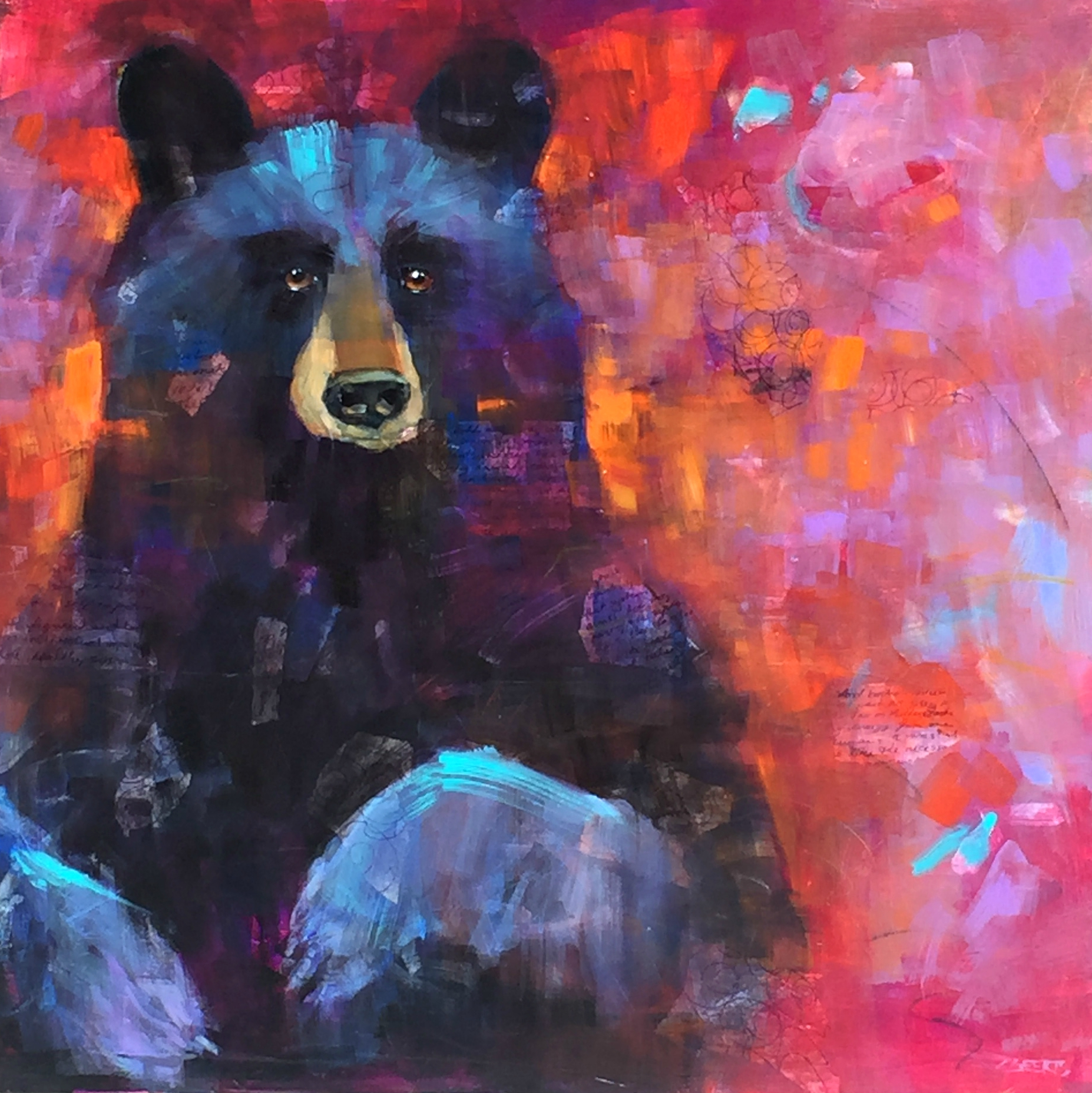 Calm and Intensity, acrylic bear painting by Connie Geerts | Effusion Art Gallery + Cast Glass Studio, Invermere BC