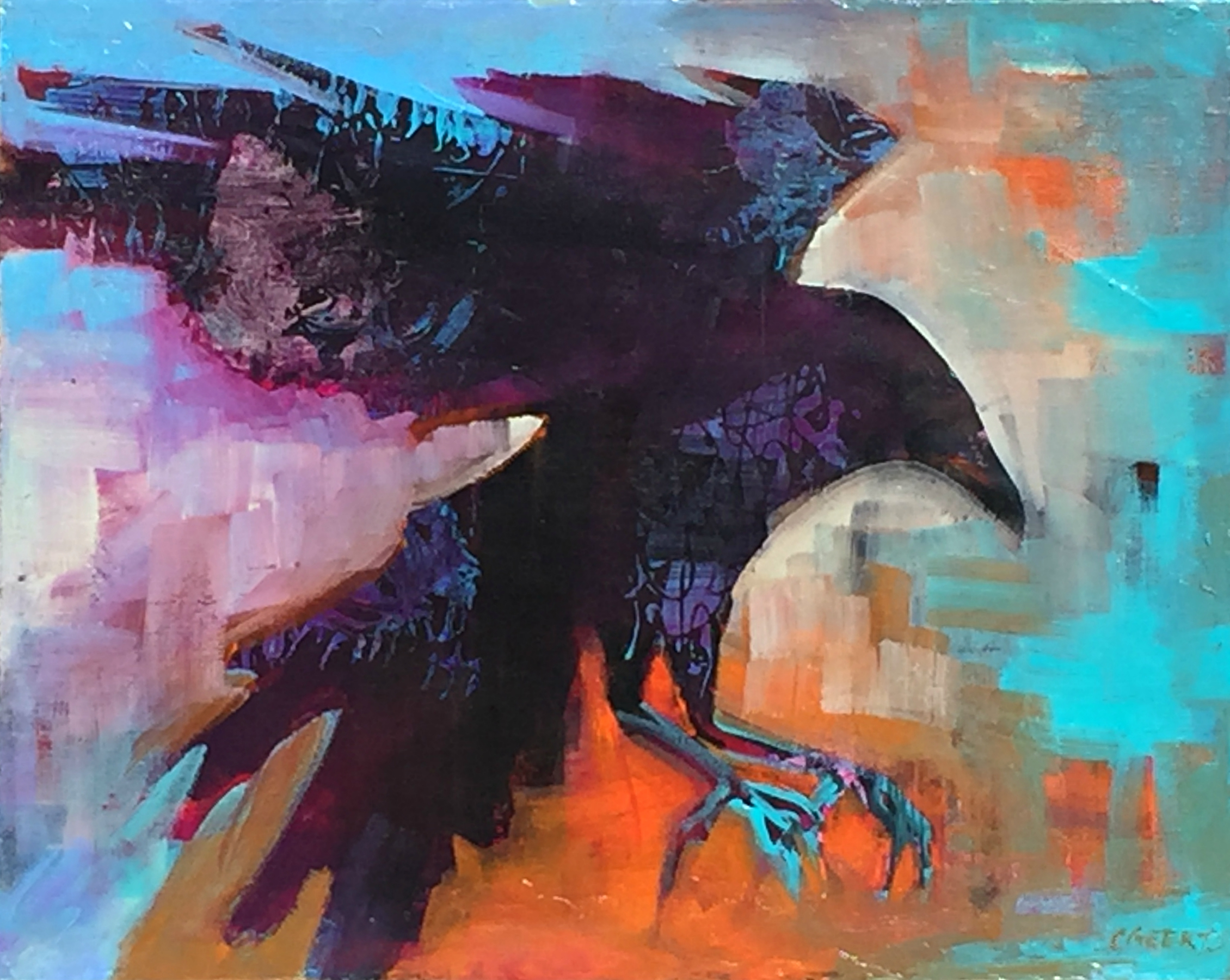 Corvidae, acrylic crow painting by Connie Geerts | Effusion Art Gallery + Cast Glass Studio, Invermere BC