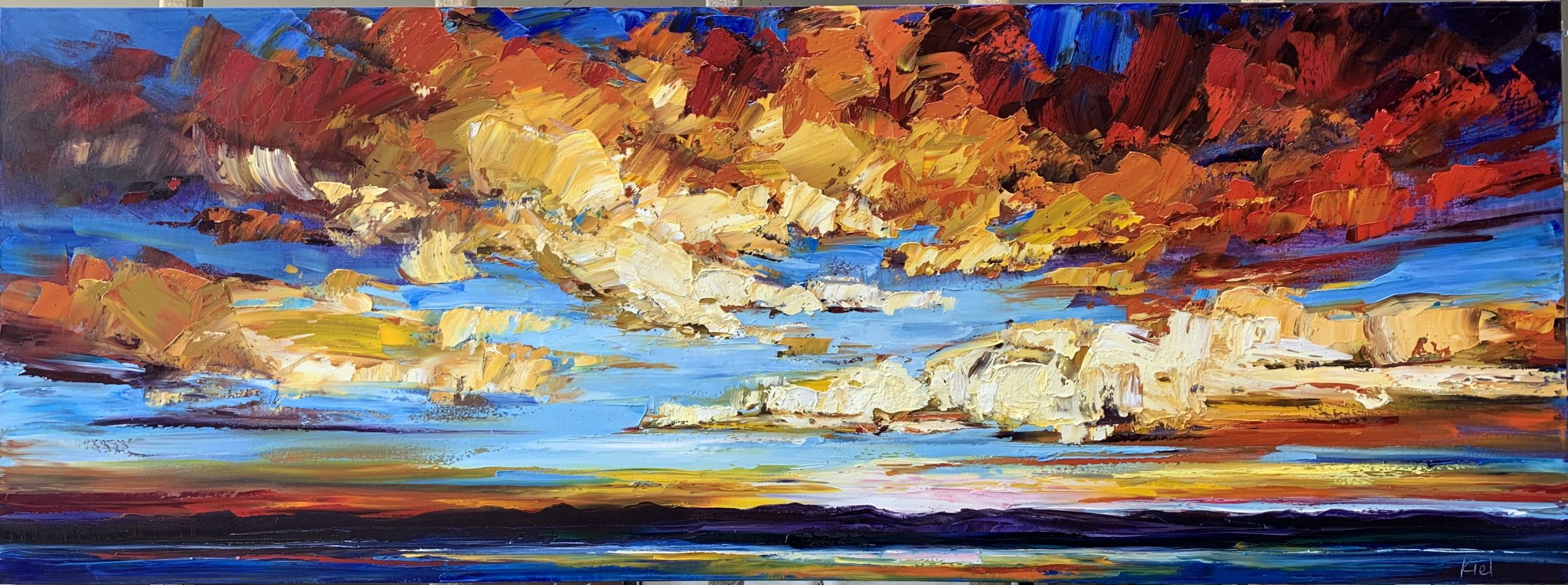 A Life Uncategorized Between the Moments, oil sunset painting by Kimberly Kiel | Effusion Art Gallery + Cast Glass Studio, Invermere BC