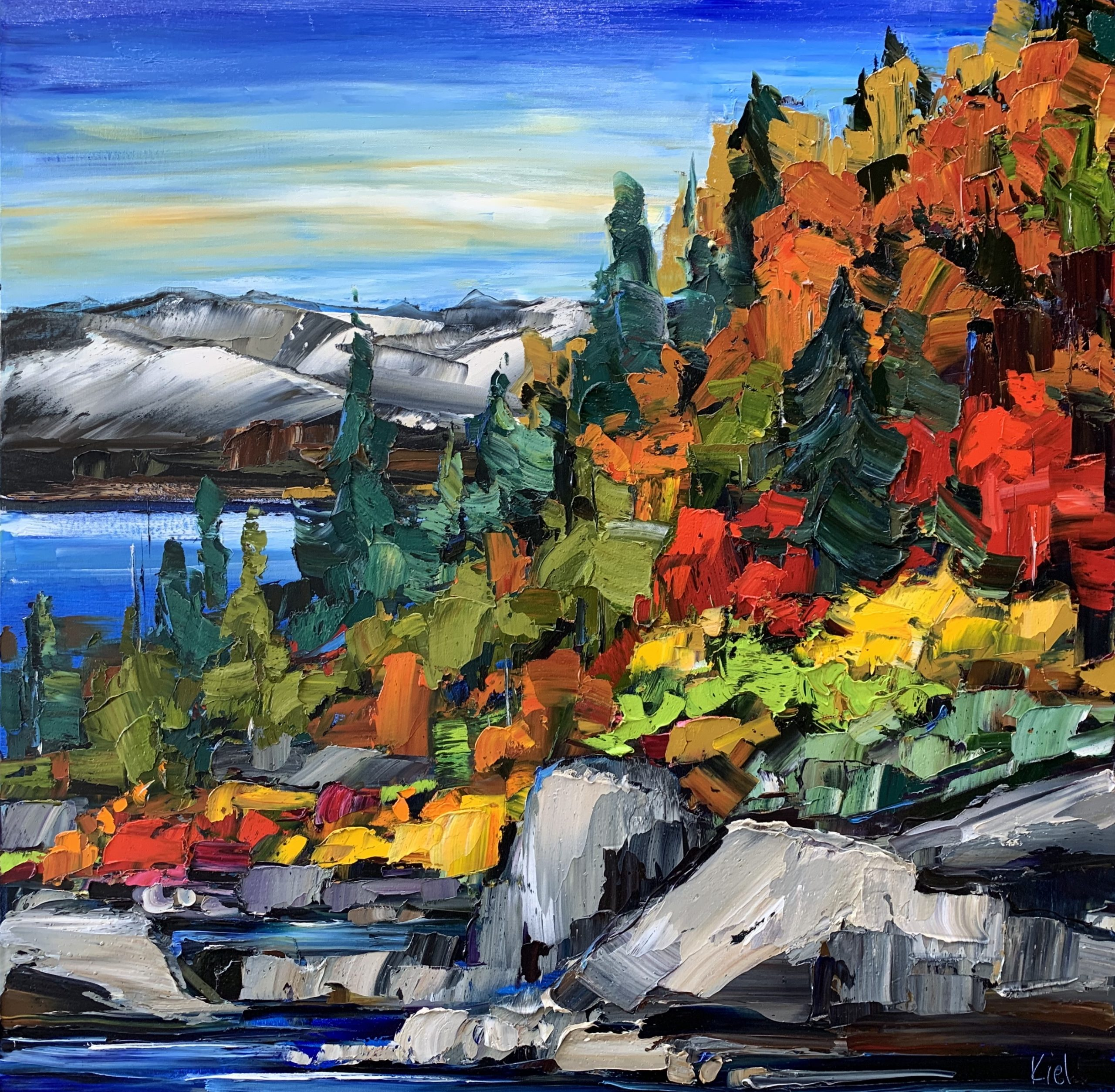 On My Way, oil landscape painting by Kimberly Kiel | Effusion Art Gallery + Cast Glass Studio, Invermere BC