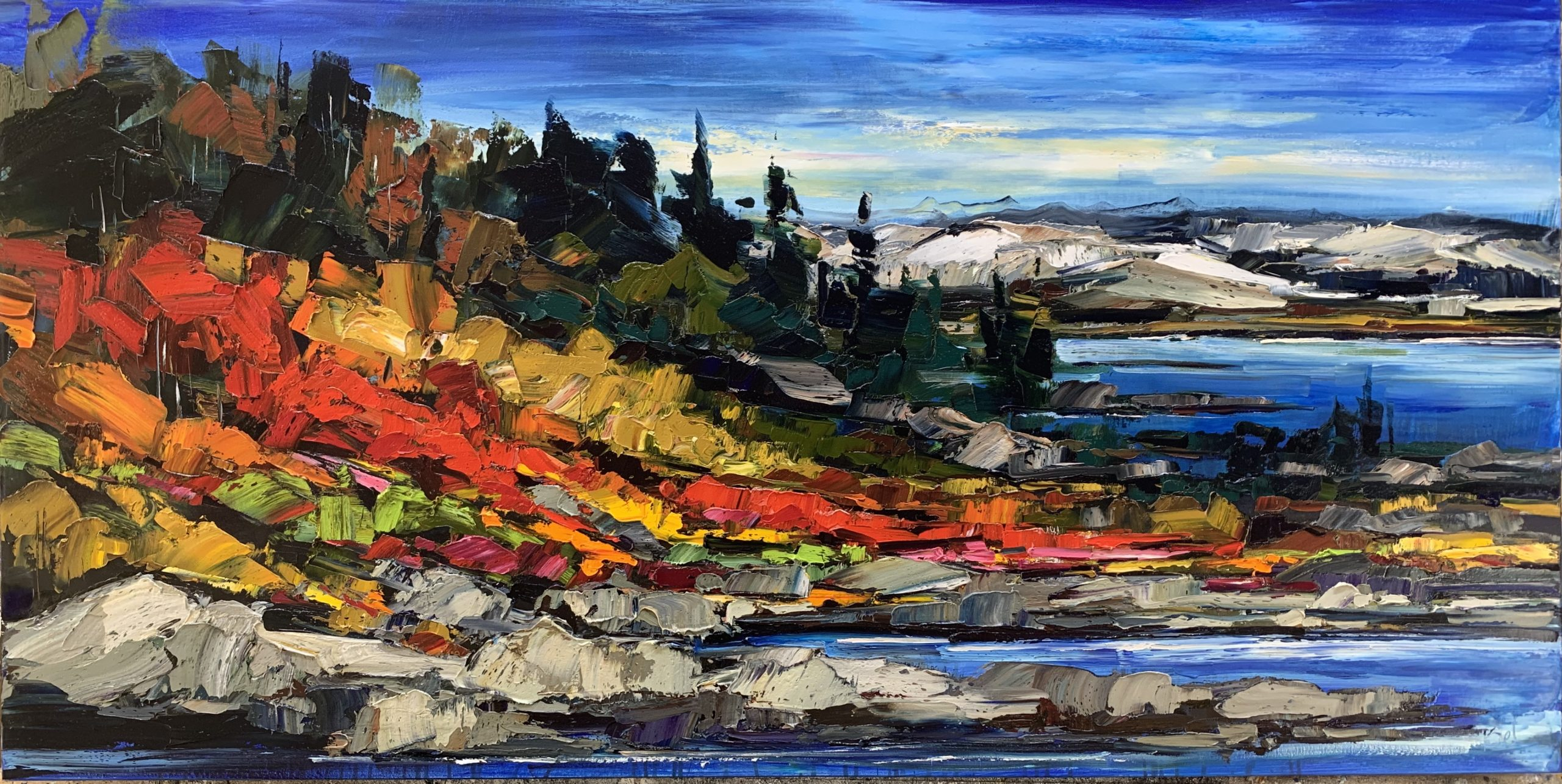 The Quiet Sound of Noticing, oil landscape painting by Kimberly Kiel | Effusion Art Gallery + Cast Glass Studio, Invermere BC