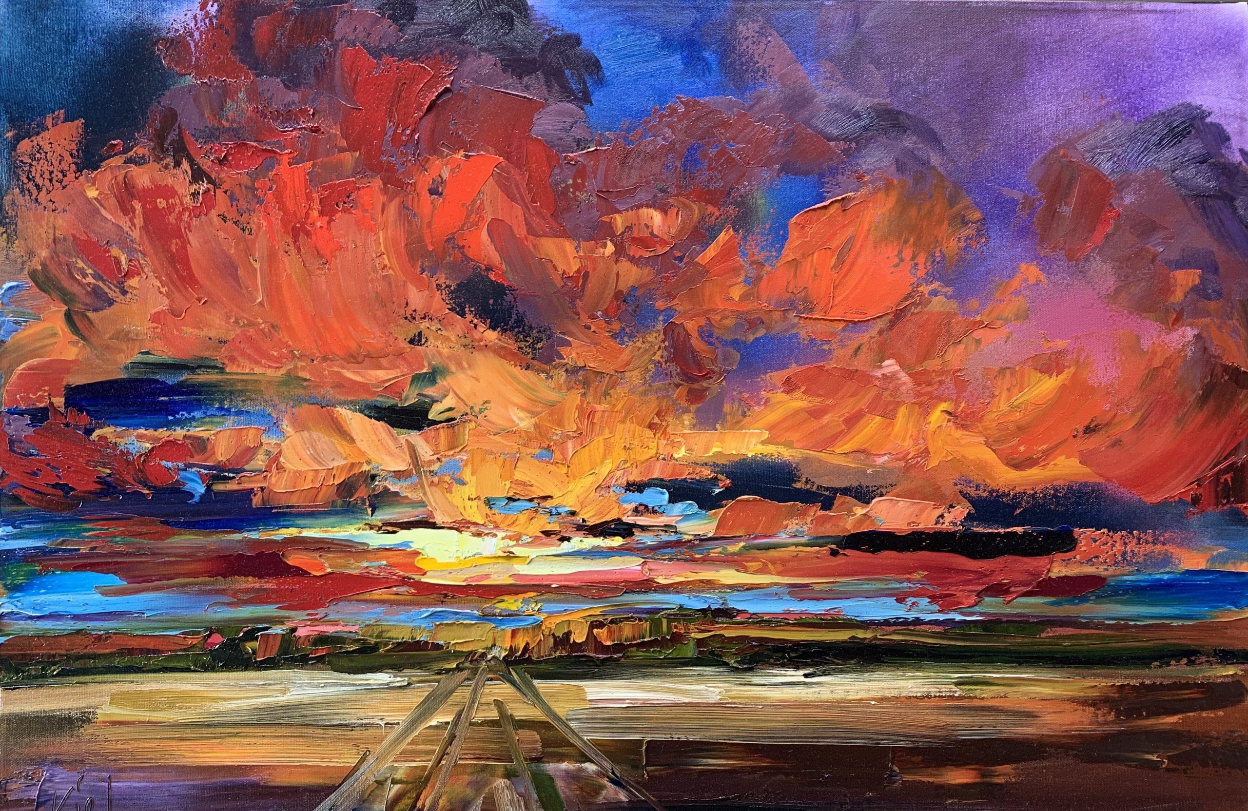 Where this Road Leads, mixed media sunset landscape painting by Kimberly Kiel | Effusion Art Gallery + Cast Glass Studio, Invermere BC