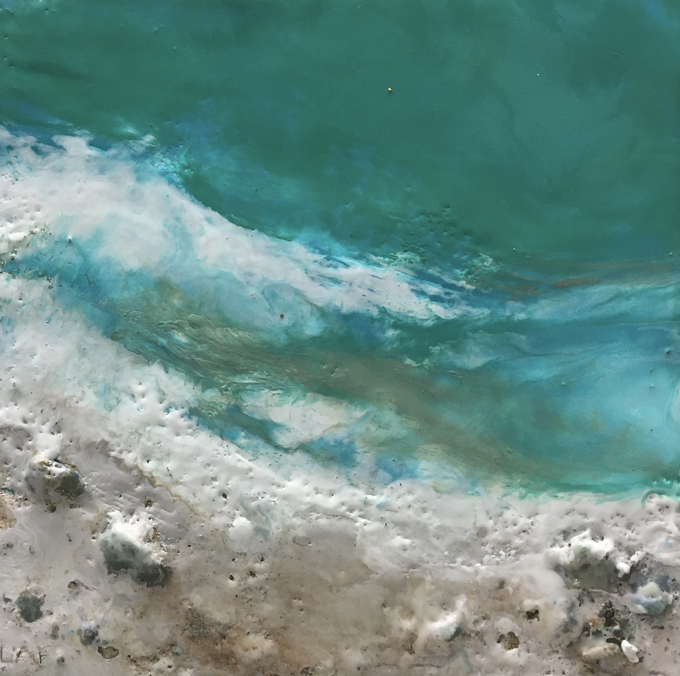 Warm Sea Breeze 2, encaustic ocean painting by Lee Anne LaForge | Effusion Art Gallery + Cast Glass Studio, Invermere BC