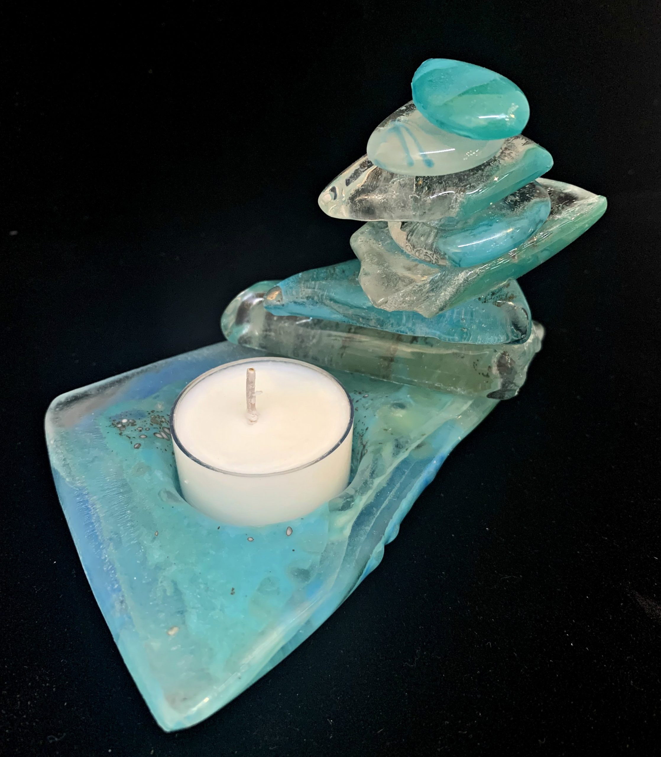 Cast Glass Rocky Mountain Cairn 33 tea light holder by Heather Cuell | Effusion Art Gallery + Cast Glass Studio, Invermere BC
