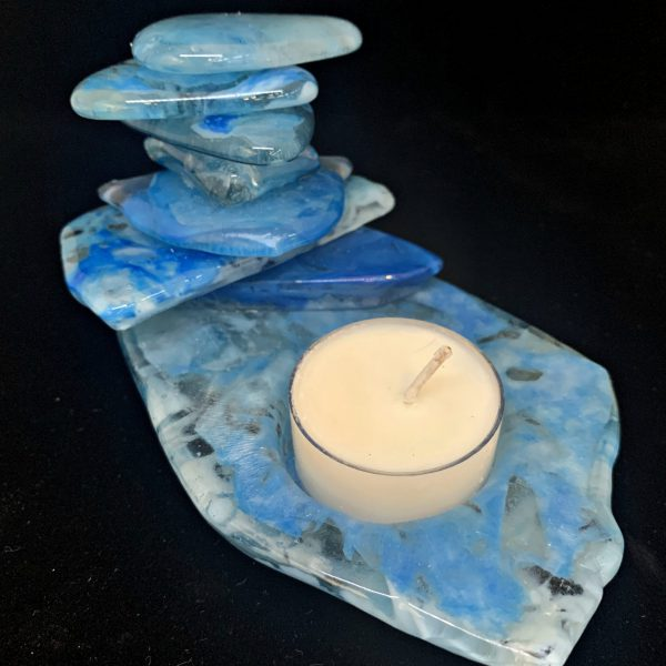 Cast Glass Rocky Mountain Cairn 34 tea light holder by Heather Cuell   Effusion Art Gallery + Cast Glass Studio, Invermere BC