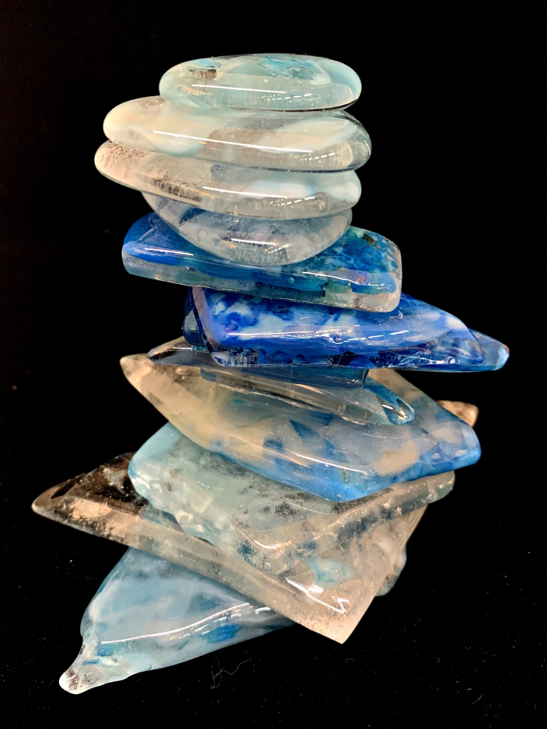 Cast Glass Rocky Mountain Cairn 35 by Heather Cuell | Effusion Art Gallery + Cast Glass Studio, Invermere BC
