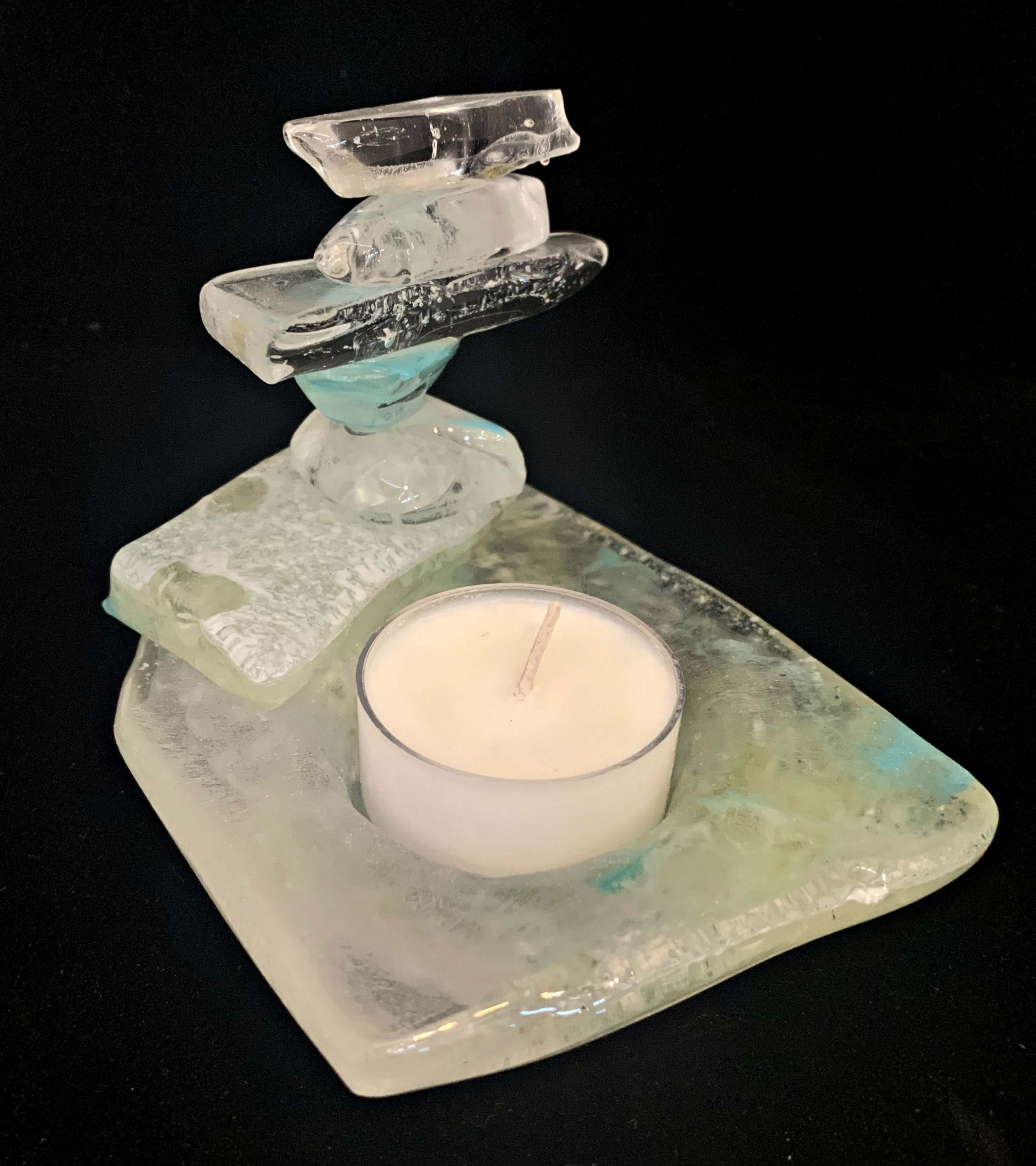 Cast Glass Rocky Mountain Cairn 36 tea light holder by Heather Cuell | Effusion Art Gallery + Cast Glass Studio, Invermere BC