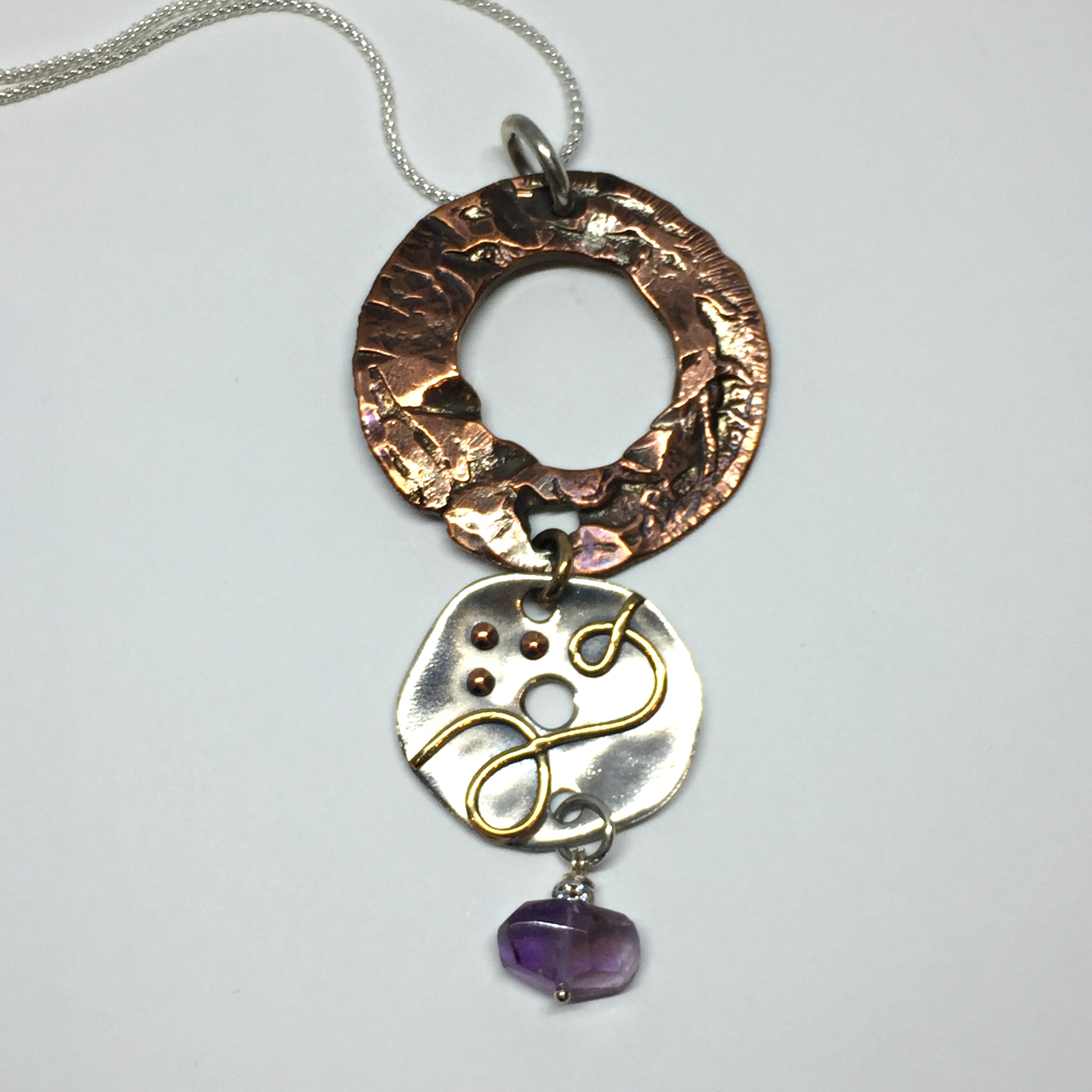 Amethyst Creation, one of a kind necklace by Karyn Chopik | Effusion Art Gallery + Cast Glass Studio, Invermere BC